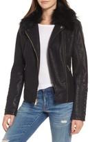 GUESS Women's Faux Fur Collar Jacket