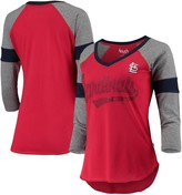Unbranded Women's Touch Red/Gray St. Louis Cardinals Fan for Life Raglan V-Neck 3/4-Sleeve T-Shirt