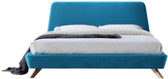 Omax Decor Henry Mid-Century Modern Upholstered Platform Bed, Blue, King