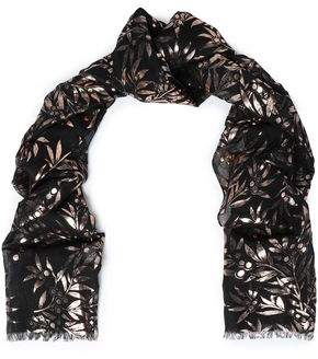 Roberto Cavalli Metallic Printed Modal And Silk-blend Scarf