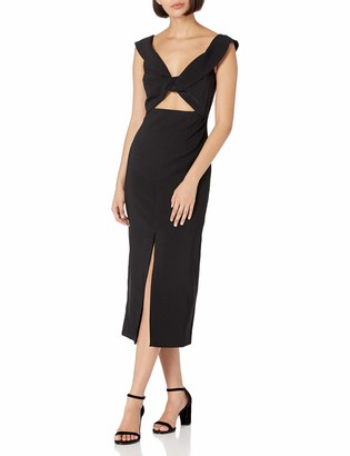Finders Keepers findersKEEPERS Women's Cap Sleeve Mae V-Neck Cut-Out Midi Dress