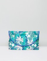 Glamorous Rainforest Embroidery Zip Top Pouch