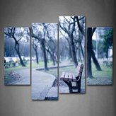First Wall Art - Blue Wooden Bench Bare Trees And Narrow Path Wall Art Painting The Picture Print On Canvas City Pictures For Home Decor Decoration Gift