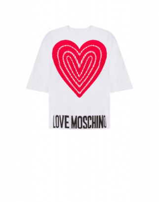 Love Moschino Heart Embroidery Mesh T-shirt Woman White Size 38 It - (4 Us)