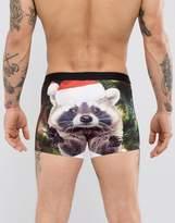 Asos Holidays Trunks With Santa Racoon Print