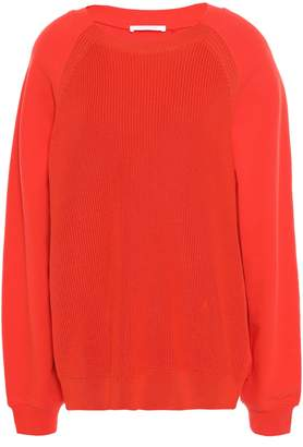 Helmut Lang French Terry-paneled Ribbed Cotton Sweater