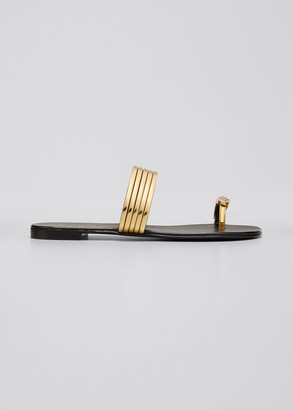 Giuseppe Zanotti Flat Coated Metallic Leather Toe-Ring Sandals