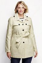 Classic Women's Plus Size Harbor Cropped Trench Coat-Black