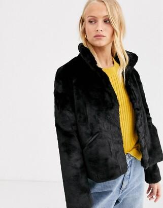 Only faux fur jacket-Black