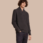 Burberry Shawl Collar Ribbed Wool Silk Sweater