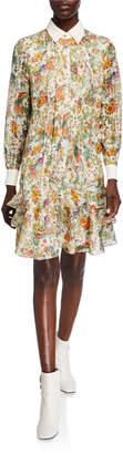 Tory Burch Printed Bow-Neck Long-Sleeve Ruffle-Hem Chiffon Dress