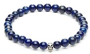 Lapis Link Up Bead & Skull Charm Stretch Bracelet