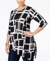 Alfani Plus Size Asymmetrical-Hem Top, Only at Macy's