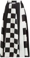 Dodo Bar Or Martha High-rise Silk-satin Midi Skirt - Womens - Black White