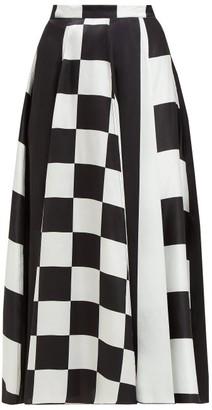 Dodo Bar Or Martha High Rise Silk Satin Midi Skirt - Womens - Black White