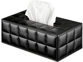 Finether PU Leather Grid Pattern Padded Rectangular Tissue Box Cover Napkin Holder with Magnet Bottom Cover for Home, Office, Car or Hotel, Black