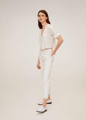 MANGO Ruffled sleeve blouse off white - 2 - Women