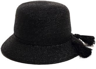 Cloche Black Straw Hat For Women