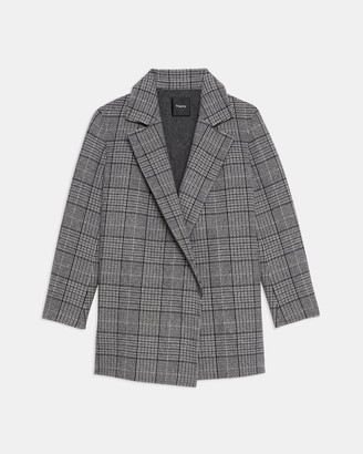 Theory Clairene Jacket in Plaid Double-Face Wool-Cashmere