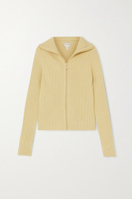 Bottega Veneta Ribbed Wool-blend Cardigan - Off-white