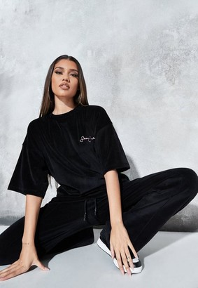 Missguided Sean John X Black Velour Oversized T Shirt
