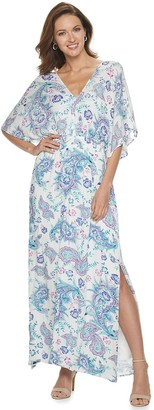 Nina Leonard Women's Print Draped Gauze Maxi Dress