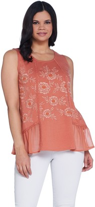 Logo by Lori Goldstein Knit Tank with Embroidery & Crochet Trim