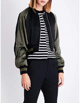 Mo&Co. Ladies Black Casual Eagle-Embroidered Satin Bomber Jacket