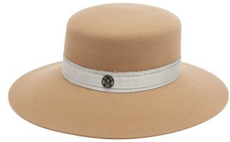 Maison Michel New Kendall Linen-band Felt Hat - Beige White