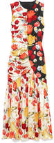 Mother of Pearl Pauletta Ruched Floral-print Silk-satin Midi Dress - Orange