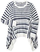 poof girl (Girls 7-16) Stripe Sharkbite Sweater