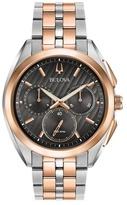 Bulova Two Tone Rose Chronograph Curv Bracelet Watch 98a160
