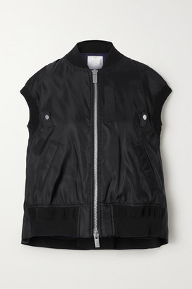 Sacai Ribbed Jersey And Grosgrain-trimmed Shell Vest - Black