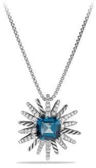 David Yurman Women's Starburst Necklace with Diamonds in Silver, 23MM - Hampton Blue Topaz - Size 19""