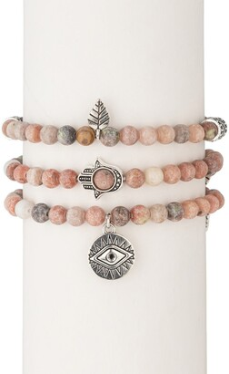 Eye Candy Los Angeles Pink Agate 3-Piece Evil Eye Bracelet Set