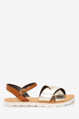 Next Womens Metallic Regular/Wide Fit Forever Comfort Leather Sporty Sole Sandals - Metallic