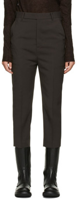 Rick Owens Brown Wool Cropped Astaire Trouser