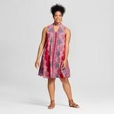 Xhilaration Women's Plus Size Choker Shift Dress Fuchsia Print