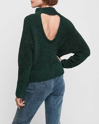 Express Cozy Chenille Open Back Mock Neck Sweater
