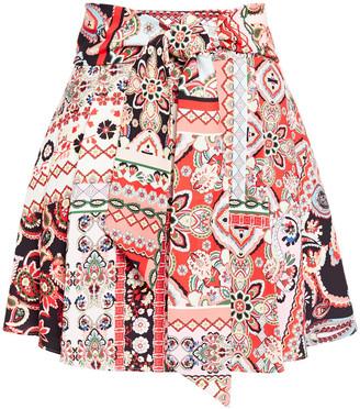 Alice + Olivia Helinda Belted Printed Crepe Mini Skirt