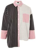 Topshop Oversized striped contrast shirt