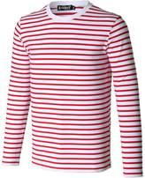uxcell Allegra K Men Crew Neck Long Sleeves Striped T-shirt Small