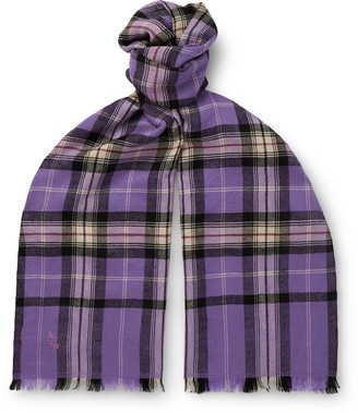 Anderson & Sheppard + Camoshita Fringed Checked Cashmere Scarf