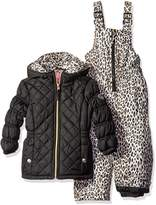 Pink Platinum Little Girls' Quilted Snowsuit with Cheetah Print