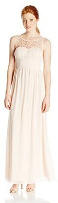Speechless Junior's Emma Jewel/Pearl Illusion Long Prom Dress