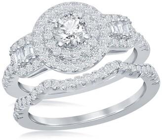 Simona Jewelry Sterling Silver CZ Engagement Ring & Wedding Band Set