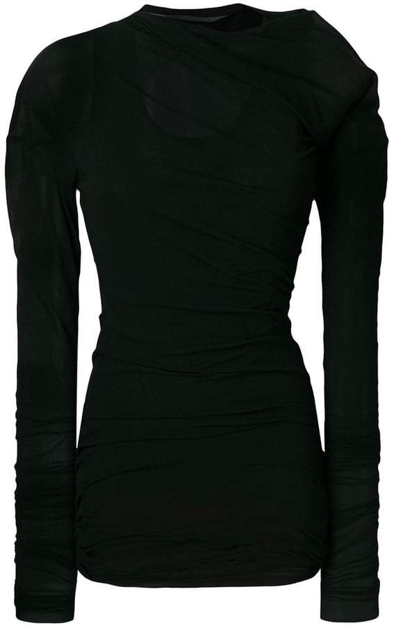Ann Demeulemeester gathered mesh layer top