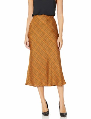 C/Meo Women's No Time Plaid Checkered Midi Slip Skirt