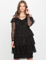 ELOQUII Plus Size Tiered Lace Dress