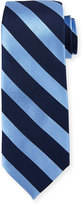 Neiman Marcus Silk Wide-Stripe Printed Tie, Navy